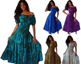Maxi Batik Bianka Blue mexican peasant dress etsy