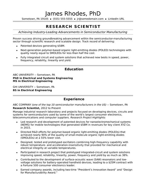 Research Experience Resume by Research Scientist Resume Sle