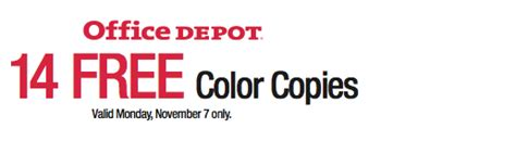 Office Depot Color Copies Office Depot 14 Free Color Copies Today Only Southern