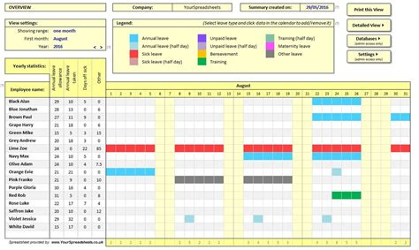 Employee Absence Tracker Spreadsheet Onlyagame Employee Vacation Tracker Excel Template 2017