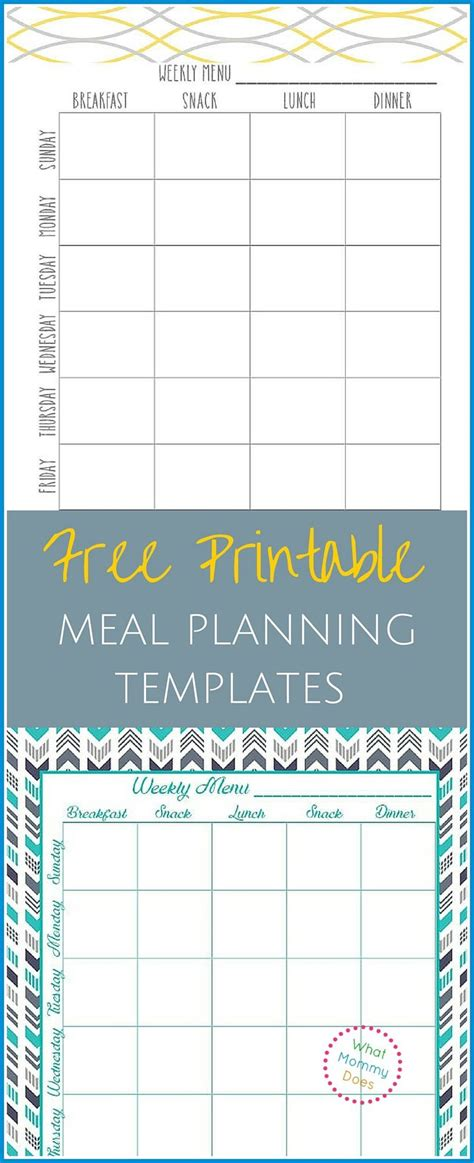 free printable meal planning ideas free printable weekly meal planning templates and a week