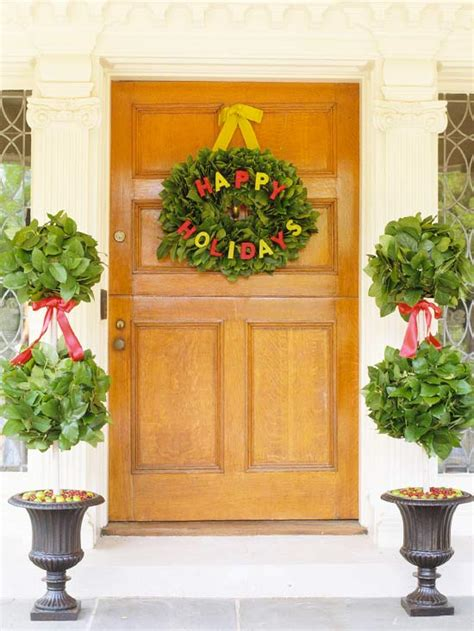 better homes and gardens christmas decorations christmas door decorating ideas pretty wreaths and more from better homes gardens