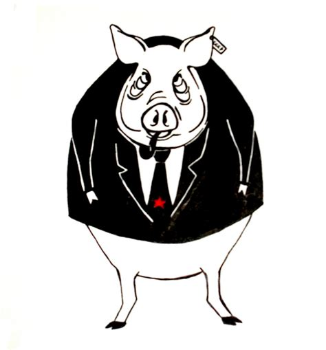 Animal Farm Pig animal farm pig animal farm lino cut print