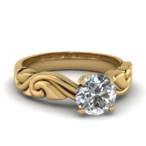 white gold pattern ring filigree solitaire diamond engagement ring in 14k yellow