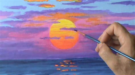 paint  red sun  sunset  acrylic paint