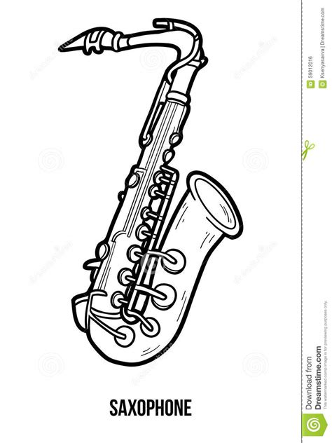 coloring book musical instruments saxophone stock