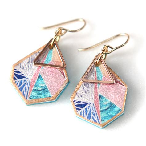 Australian Handmade Jewellery Designers - snowflake triangle earrings sunset gold