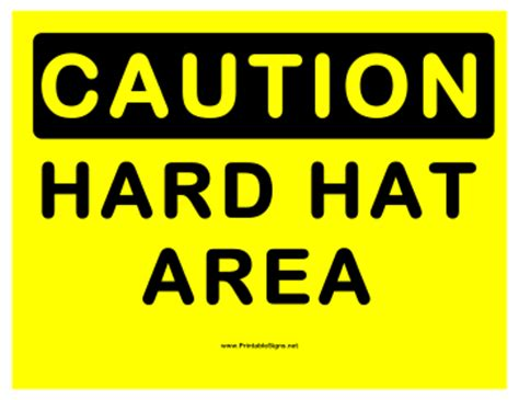 printable hard hat area sign printable caution hard hat area sign