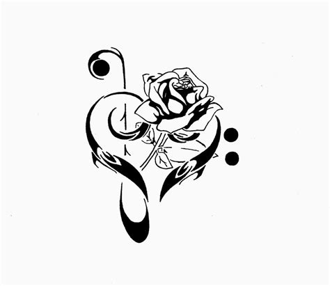 rose with music notes tattoo black treble clef with stencil by