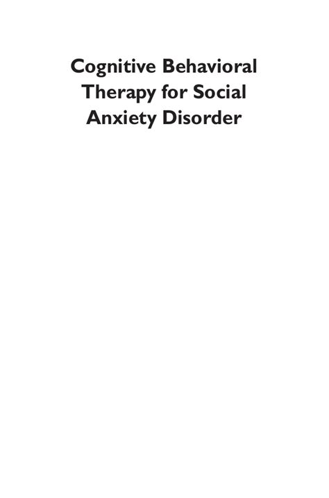 cognitive behavioral therapy for sexual dysfunction practical clinical guidebooks books cognitive behavioral therapy for social anxiety disorder