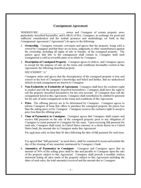 free consignment contract template consignment agreement form 7 free templates in pdf word