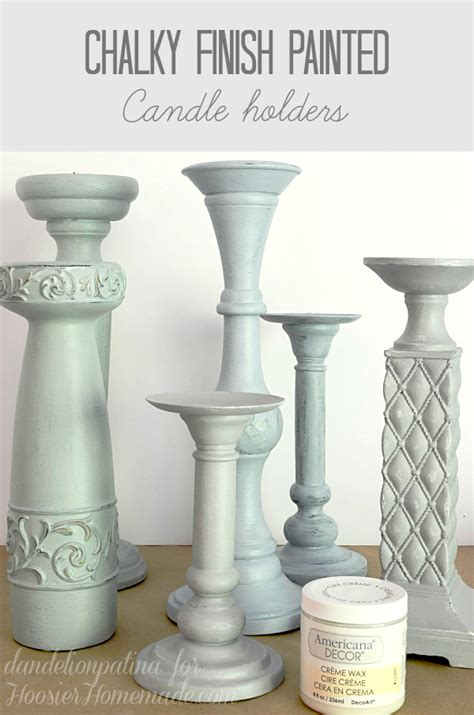 americana chalk paint diy before and after painted candle holders dandelion patina