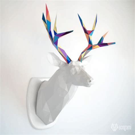 Download Print Our Pdf Template To Assemble This Beautiful Papercraft Deer Papercraft Deer Template