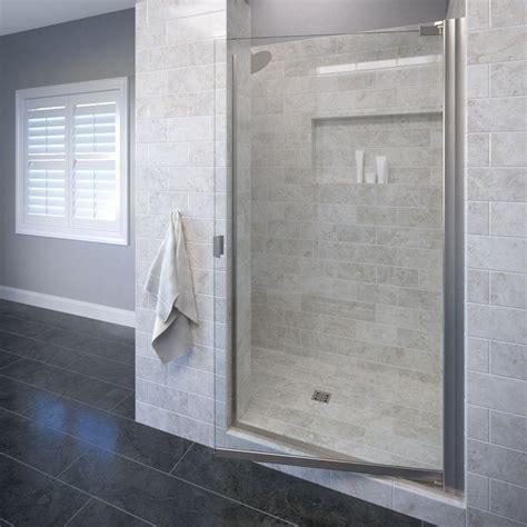 Basco Frameless Shower Door Basco Classic 25 1 8 In X 66 In Semi Frameless Pivot Shower Door In Brushed Nickel 3600 1clbn