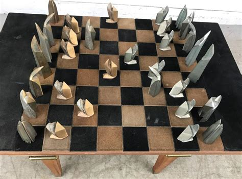 art deco chess set mid century modern bronze and suede chess set cubist art