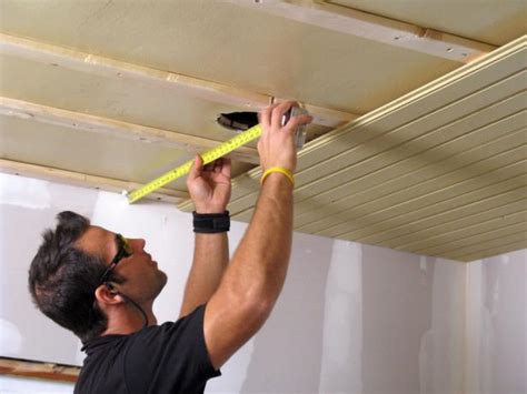 How To Install Wood Ceiling Planks by How To Install A Tongue And Groove Plank Ceiling How Tos