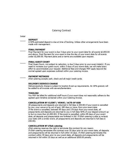 Contract Letter For Catering Catering Contract Template 6 Free Templates In Pdf Word Excel