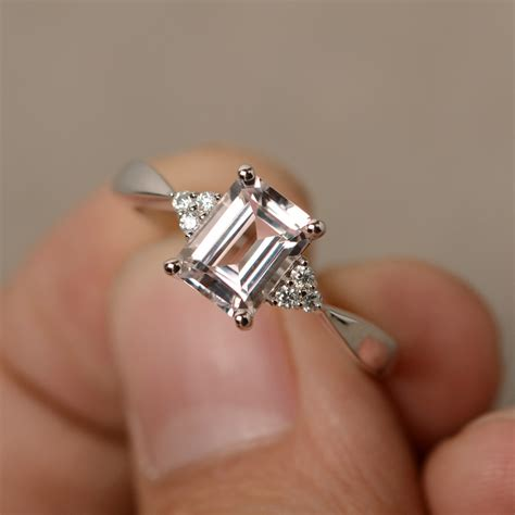 morganite ring engagement ring emerald cut sterling silver