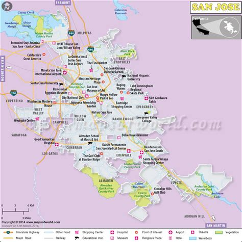 san jose california on us map san jose map map of san jose city california