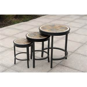 Patio Accent Table Heirloom Slate Outdoor Patio 7pc Dining Set 3pc Accent Table Tete A Tete Bench Ebay
