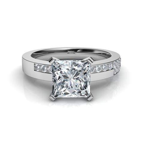 pave diamonds princess cut engagement ring with 17 pave diamonds in 14k