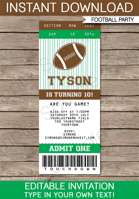 printable tickets invitations football ticket invitation template ticket invitations