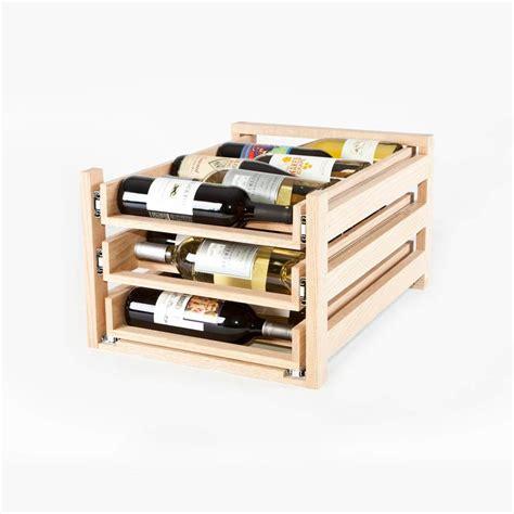 wine logic 3 tray 18 bottle in cabinet wine rack maple