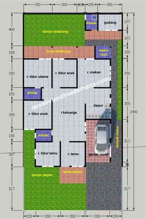 gambar denah rumah untuk ukuran tanah kavling 12 x 24 m