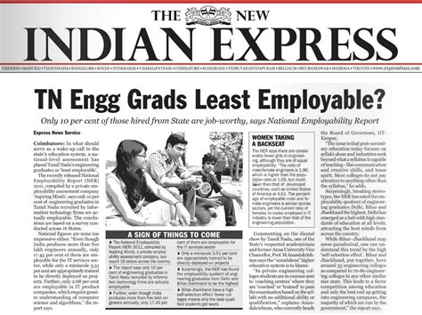 layout of indian express newspaper indian express does a detailed story on the engineers