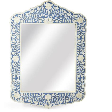 Inlay White blue floral bone inlay mirror