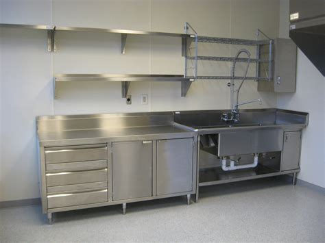 Stainless Kitchen Cabinets by Stainless Shelves Industrial Kitchen