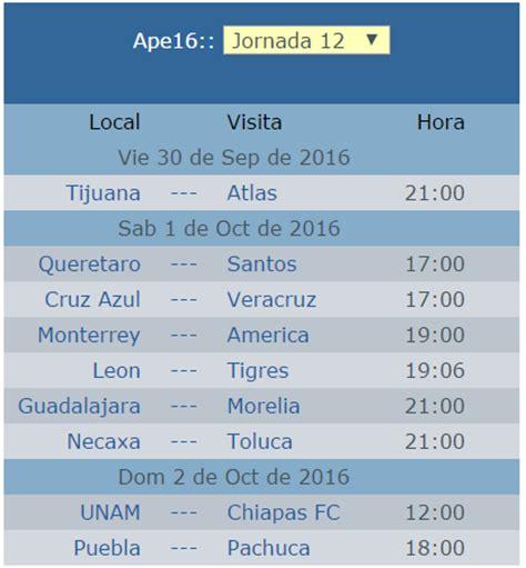 Calendario Jornada 12 Del Futbol Mexicano Apertura 2016 | calendario de la jornada 12 del futbol mexicano apertura