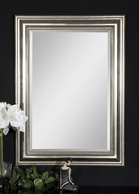 uttermost stuart silver beaded mirror guest bathroom