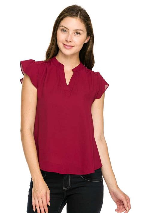Split Neck Sleeve Top split neck ruffle sleeves sheer top