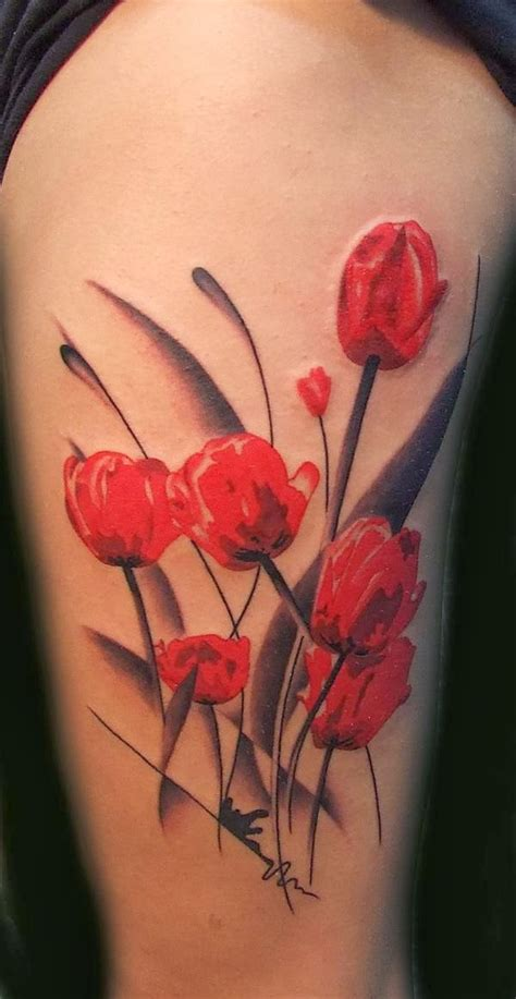 red tulip tattoo designs meaningful dualwarez