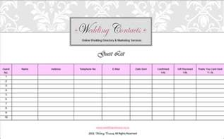 wedding guest excel template wedding guest list template free word excel pdf format