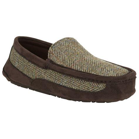 tweed slippers lewis harris tweed moccasin slippers in green for