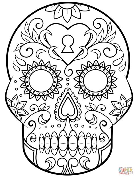 Day Of The Dead Sugar Skull Coloring Page Free Printable Mexican Skull Coloring Pages