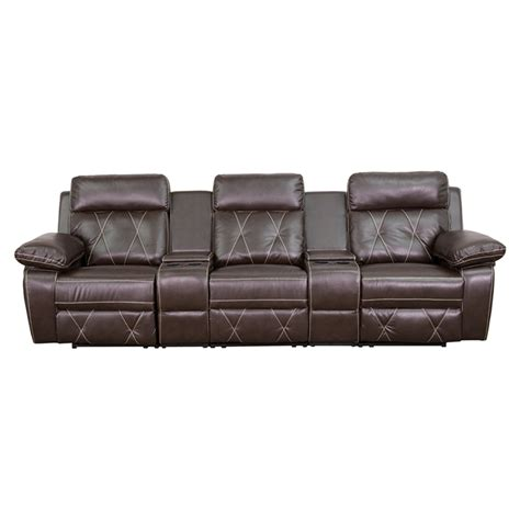 comfortable home theater seating reel comfort series 3 seat leather recliner brown