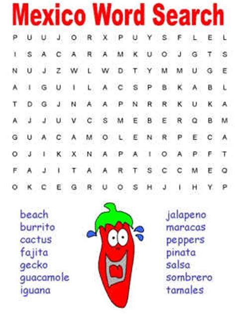 Mexican Search Pin Word Search Countries Puzzles For On