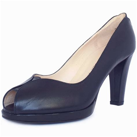 high heel pumps kaiser uk emilia navy leather high heel peep toe