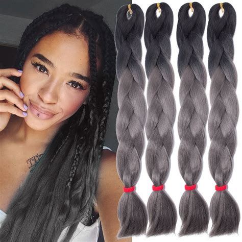 kanekolan hair black white grey 24inch 10pcs ombre gray braiding hair high temperature