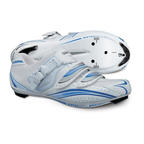 womens spd bike shoes shimano wr61 womens fit road bike spd sl shoes white blue