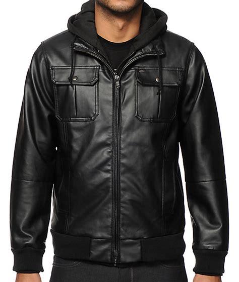 Jaket Juventni Hoodie Black T1310 4 obey rapture faux leather hooded jacket zumiez