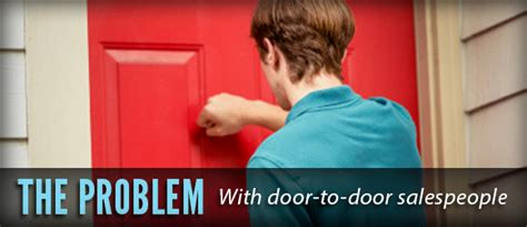 the problem with door to door salespeople and how to stop