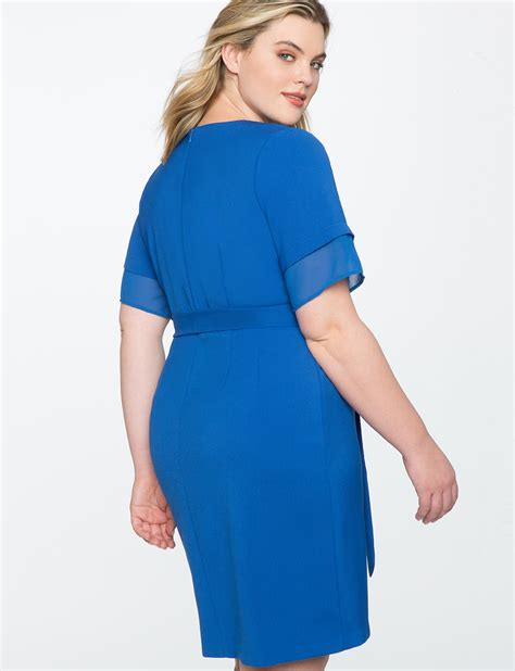 tie front dress with layered sleeve s plus size