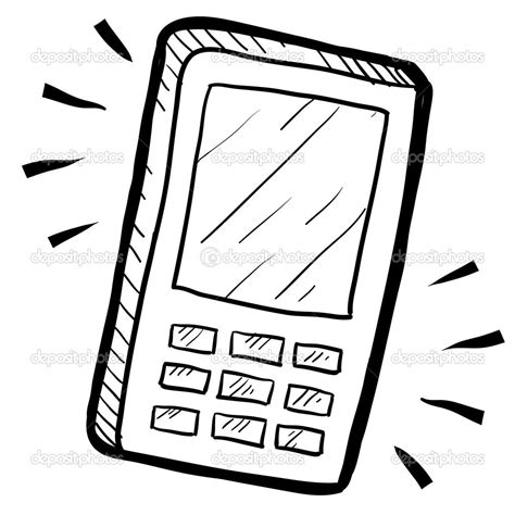 mobile dwg cell phone drawing mobile phone sketch stock vector