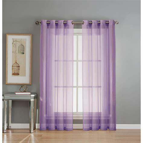 Sheer Elegance Curtains Window Elements Sheer Sheer Elegance 84 In L Grommet Curtain Panel Pair Lilac Set Of 2