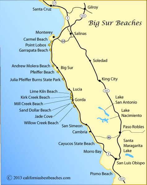 california map of beaches pfeiffer big sur on map map showing the big sur