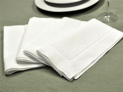 Gifts For A New Home by 1 Dozen White Hemstitched Linen Dinner Napkins 18 Inch